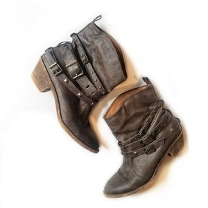 Mossimo Supply Co Brown Strappy Buckle Ankle Boots